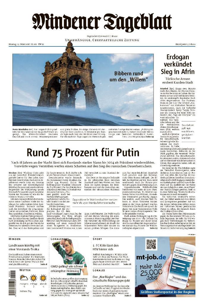 Titelseite des Mindener Tageblatts 2