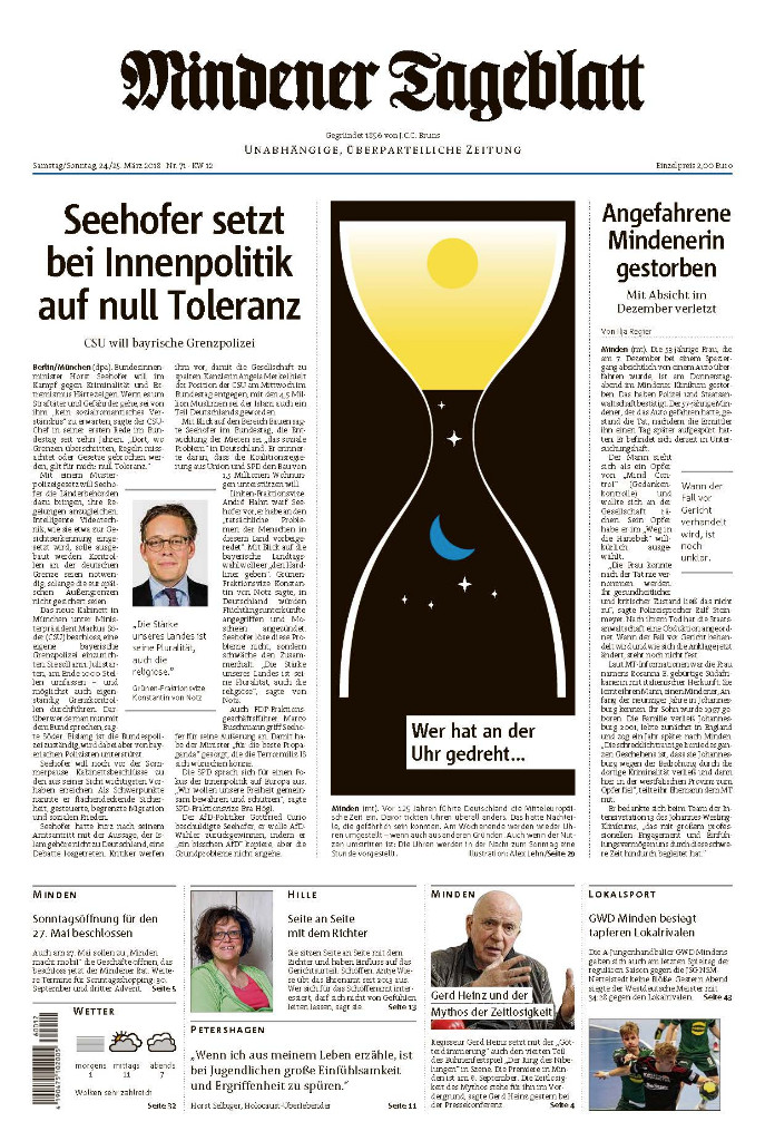Titelseite des Mindener Tageblatts
